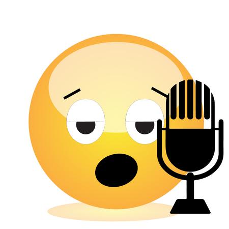 Emoji of a face of a singer