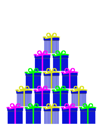 Sets of gifts forming a Christmas tree