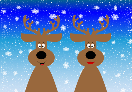 Christmas background with a couple of reindeer