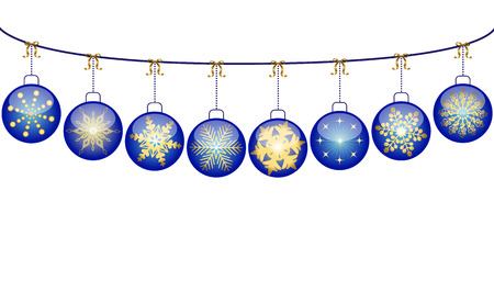 White christmas background with blue balls