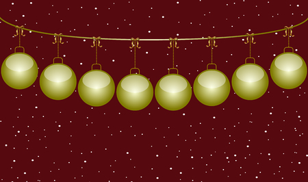 Red christmas background with golden balls