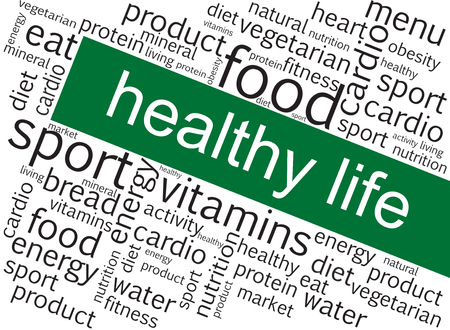 Illustration with words related to healthy life