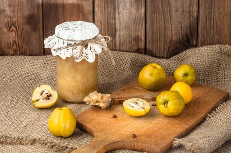 preserves: Autumn preserves, homemade jam on wooden table