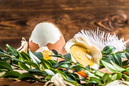 boxwood: Macro of easter eggs decorated with boxwood. Stock Photo