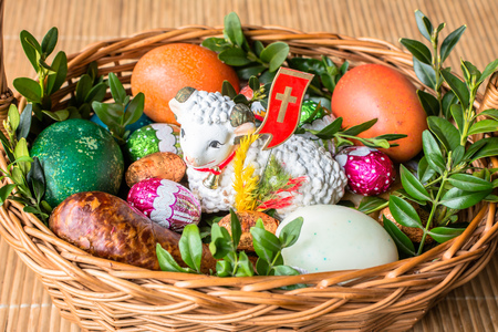 tradition: Traditional easter basket with food for blessing - polish tradition