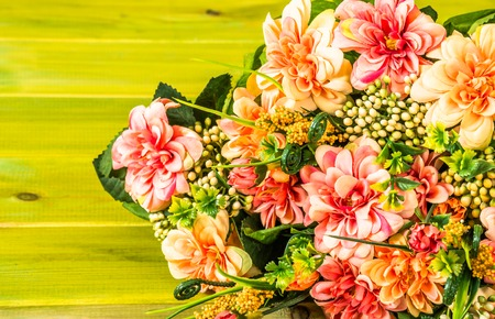 mixed marriage: Various flowers, bouquet on wooden background, greetings card, mothers day Stock Photo