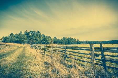 Beautiful rural landscape of, field, forest, country road and wooden fence boundary, countryside landscape, vintage photo Stock Photo