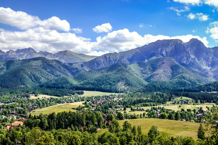 Landscape of Tatra Mountains, view at Zakopane from the top of Gubalowka.
