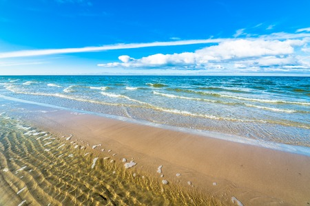 Beautiful sea landscape. Sandy beach by the seashore, Leba, Baltic Sea, Poland Stok Fotoğraf