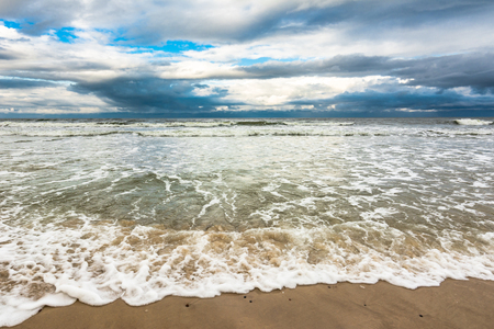 over the horizon: Stormy sea, landscape with dramatic sky and cloud over horizon