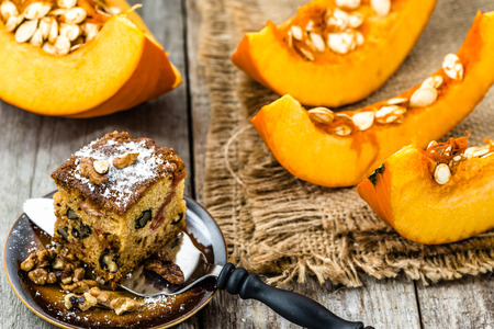 Pumpkin pie for Thanksgiving, homemade baking concept Stock Photo
