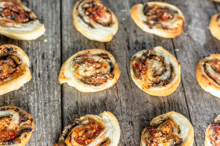 mini oven: Homemade baking concept - french pastry buns snack with spicy mushroom stuffing