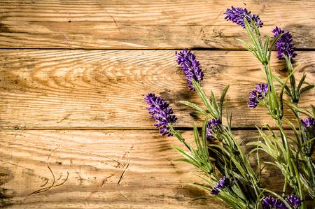 Flores de lavanda sobre fondo de madera rústica Foto de archivo