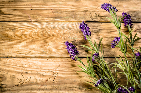 Flowers of lavender on rustic wooden background