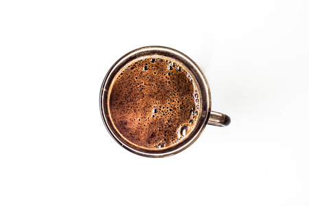 Cup of black coffee isolated on white background, overhead