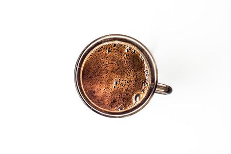 Kopje zwarte koffie geïsoleerd op een witte achtergrond, overhead Stockfoto - 72899834