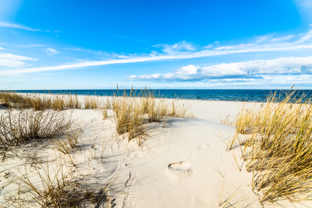 Sea beach landscape and blue sky. Sand dune with grass, Leba, Baltic Sea, Poland 写真素材