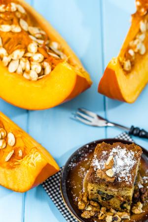 Pumpkin pie for Thanksgiving, homemade baking concept Фото со стока