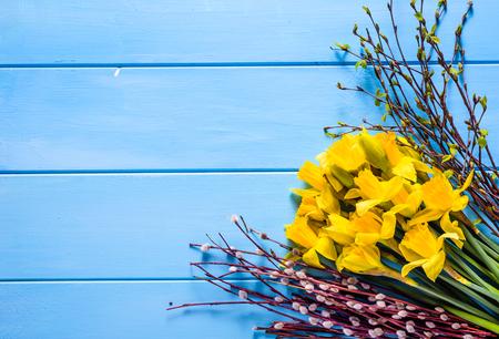 Spring background, easter symbols on table