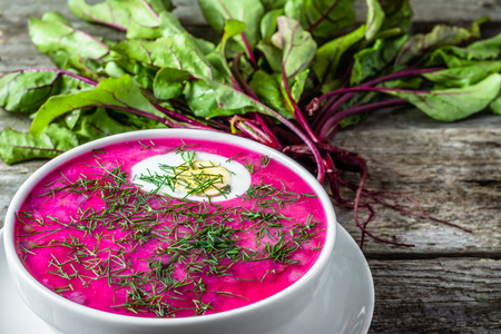Cold soup with beet leaves and vegetables greens, vegetarian cooking concept