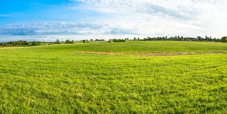 Landscape of field with grass, green meadow and blue sky in spring countryside scenery