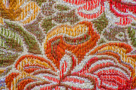 Retro textile with flower pattern, closeup