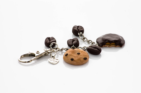 Handmade pendant with coffee beans and biscuits