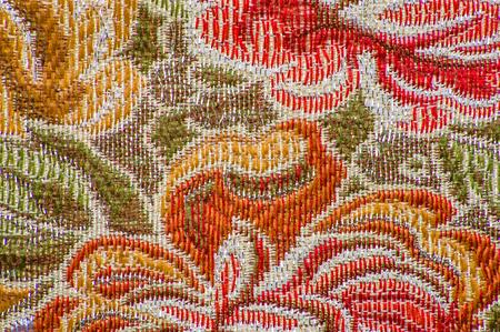 복고풍 섬유, 꽃 패턴, 배경 텍스처 스톡 콘텐츠 - 87578031