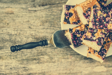 Sweet pie with blueberry fruits on yeast pastry, summer baking concept, vintage photo Zdjęcie Seryjne - 81059647