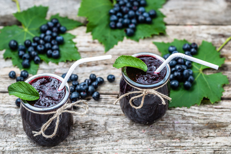 Fresh drink made from blueberries, summer smoothie with vitamin mixed from ripe fruits Stock Photo