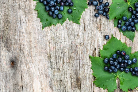 Fresh blueberries on wooden table, bilberry fruits frame, copy space from above Zdjęcie Seryjne - 81072388