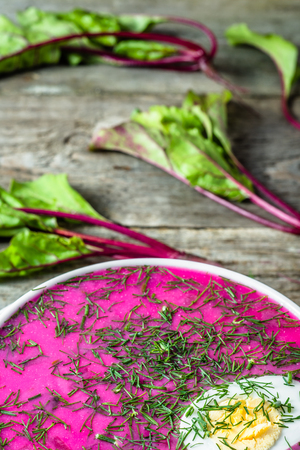 Cold soup with beet leaves served with cream, vegetarian cooking concept