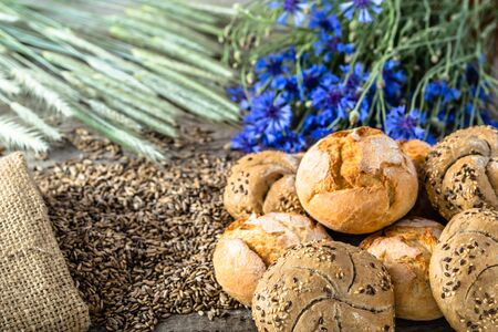 Fresh bread rolls or buns, bakery backgrounds