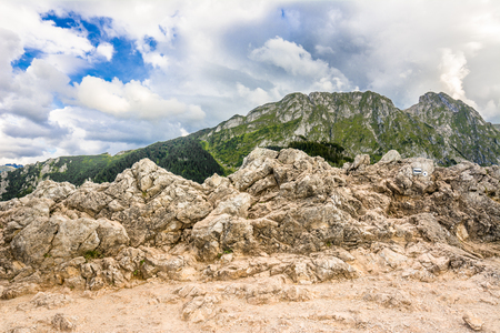 Landscape of mountain, top with rocks, panoramic vista