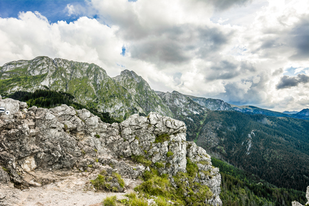 Panoramic mountain landscape, top with rocks, Tatra Mountains