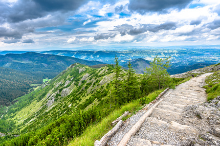 Hiking trail in mountains, landscape, Tatra National Park, Poland Stock Photo
