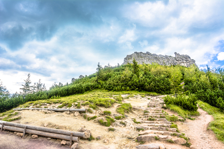 tatra: Rocky mountain above hiking trail, view on rocks on top of mountains, landscape
