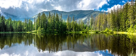 Panorama of mountain lake in Tatra Mountains, National Park in Poland, summer landscape Reklamní fotografie - 80643367