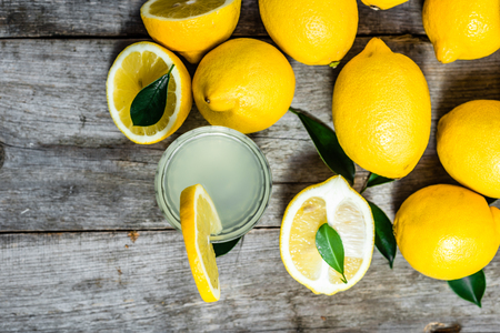 Cold drink - water with lemon juice in glass, top view Stok Fotoğraf