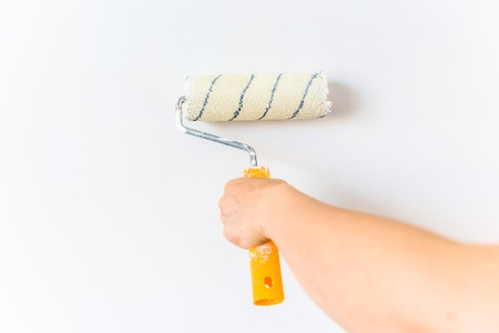 roller: Hand painting wall using paint roller, working indoors, home renovation concept