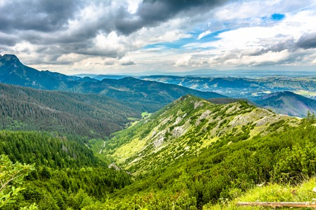 Landscape of mountains, green hills and valley in Carpathians, Poland Stock Photo
