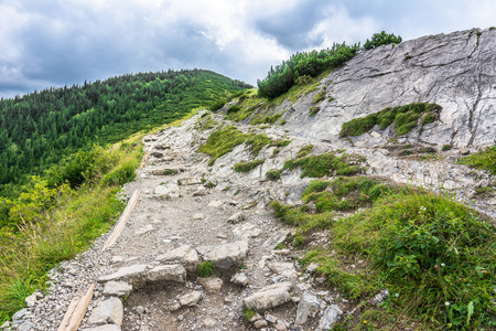 Trail for hiking in mountains, travel in the summer, landscape