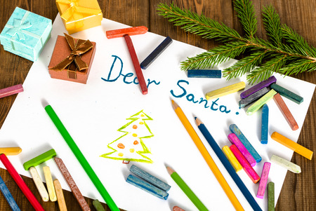Traditional Christmas letter to Santa Claus with presents and Christmas tree branch, Dear Santa greeting card Stock fotó