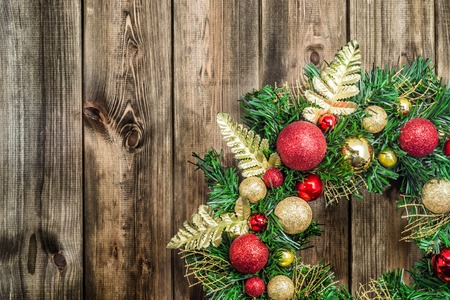 Decoration for christmas, wreath on wooden background