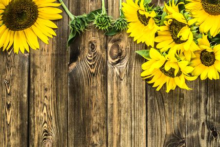 Zonnebloemen op houten achtergrond, de herfstbloemen Stockfoto