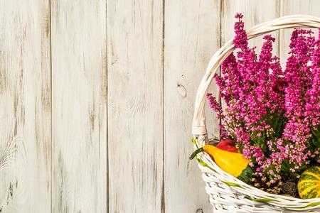 バスケット、秋の花背景、ぼろぼろのシックな素朴なパターンでヒースの花 写真素材