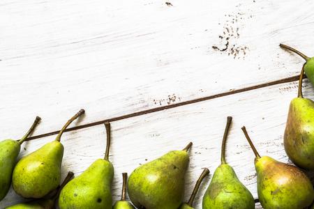 Fresh pears, organic fruits on rustic wooden background Reklamní fotografie