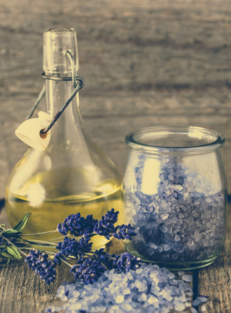 Essential oil and lavender salt for bath and body care, spa and massage concept