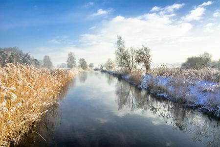 冬の川の風景や春の解凍