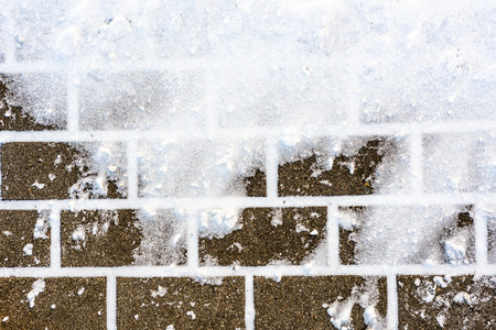Background with snow on walkway in winter, texture